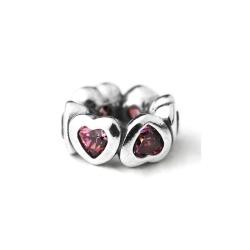 Pandora 潘朵拉 隔圈-粉紅鋯石愛心墜
