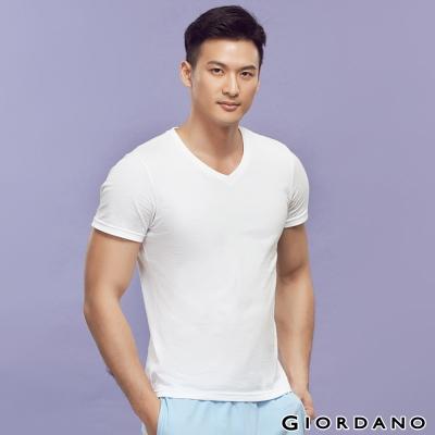GIORDANO-男裝素色純棉V領短袖TEE-01
