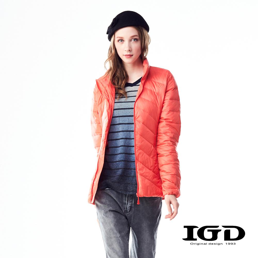 IGD英格麗90輕量保暖短版羽絨外套-橘色