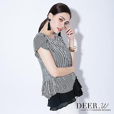 DEER.W 花包袖直條裙襬上衣(黑色)