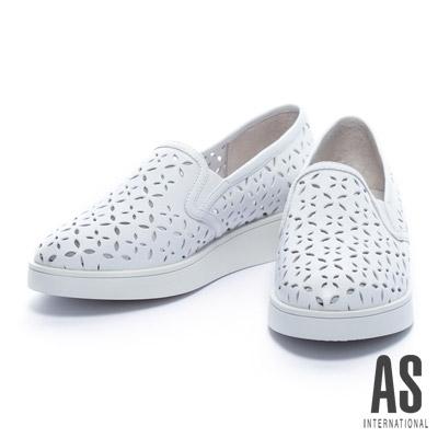 休閒鞋-AS-四葉草沖孔造型全真皮厚底休閒鞋-白
