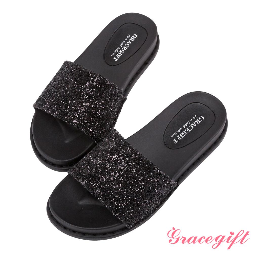 Grace gift-閃耀碎石一字寬版涼拖鞋 黑碎石