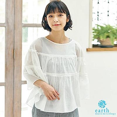 earth music 棉質透膚層次拼接寬袖上衣