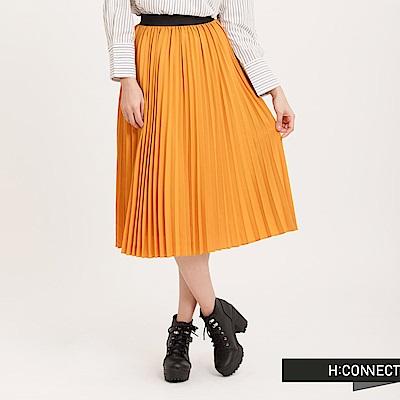 H:CONNECT 韓國品牌 女裝 - 純色百褶長裙 - 黃