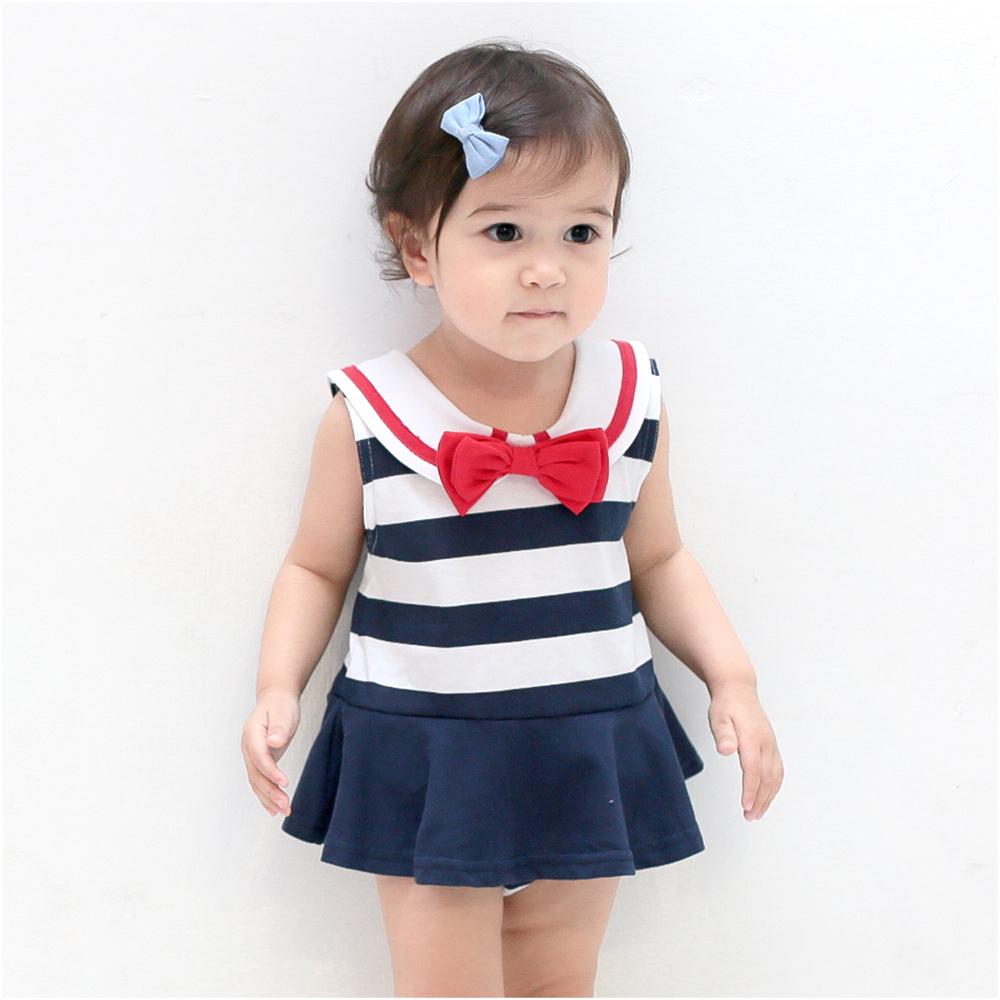 baby童衣女童蝴蝶結水手服海軍風連身包屁裙32018