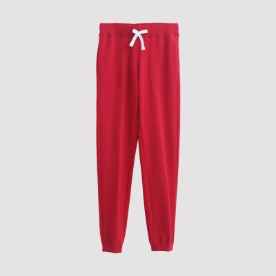 Hang Ten - 女裝 - 運動潮流素面直筒棉褲 - 紅