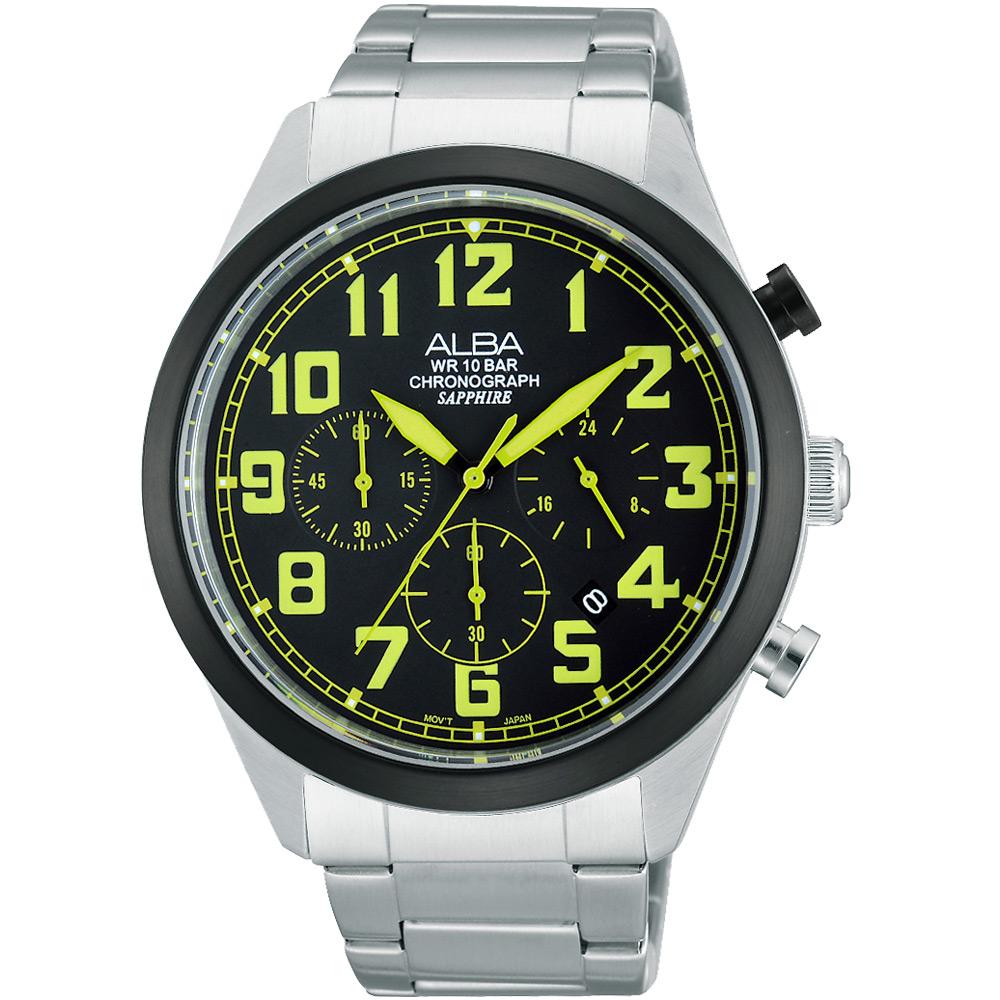 ALBA 玩色新潮三眼計時腕錶(AT3595X1)-黑x綠時標/44mm