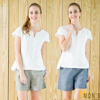 MONS-棉麻休閒短褲-共二色
