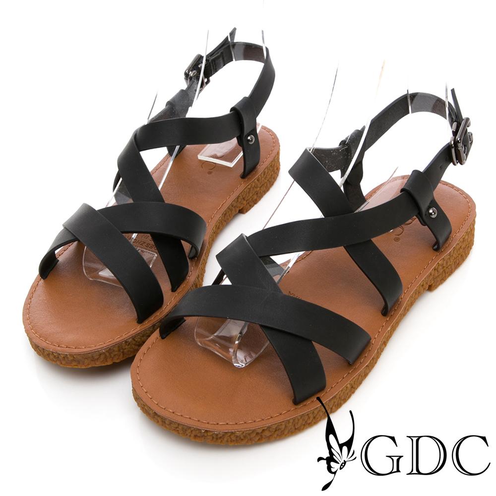 GDC-簡單好搭基本款軟Q交叉綁帶涼鞋-黑色