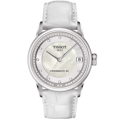 TISSOT T-Classic LUXURY 奢華時尚真鑽機械女錶-珍珠貝/33mm