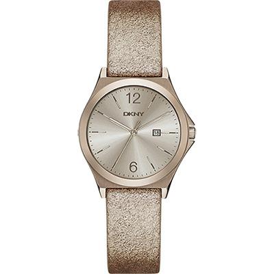 DKNY 紐約佳人都會腕錶-金屬金/34mm