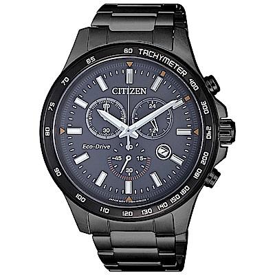 CITIZEN星辰 光動能情人限定 三眼計時腕錶(AT2425-80H)-黑/42mm