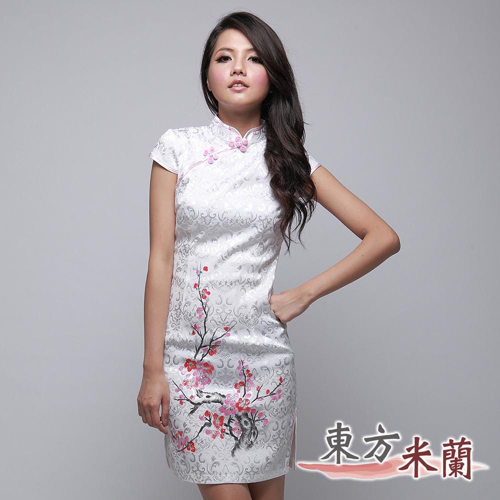 【東方米蘭】亮梅中國風‧白色梅花緹花布短袖旗袍