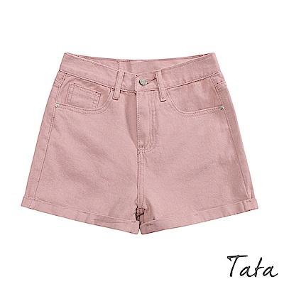 高腰素面牛仔短褲 共三色 TATA
