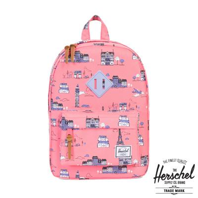 Herschel Heritage Kids 兒童後背包-粉紅色景點圖繪