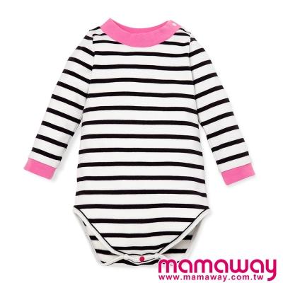 長袖包屁衣-Baby橫紋配色小高領包屁衣-共二色-Mamaway