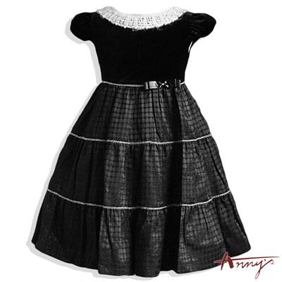 Anny華麗點點珍珠領洋裝*3211黑