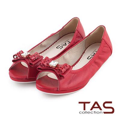 TAS-層次鏤空星星蝴蝶結水鑽魚口鞋-復古紅