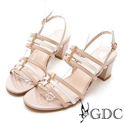 GDC-真皮春夏活潑色系低跟撞色涼鞋-米杏色