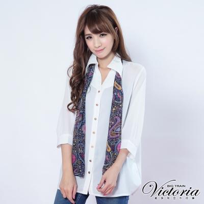Victoria 變化領片披巾襯衫-女-白