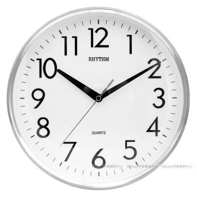 RHYTHM日本麗聲 簡約經典款居家靜音掛鐘(優雅銀)/26cm