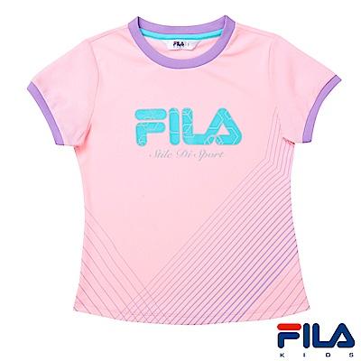FILA KIDS 女童吸濕排汗上衣-淡粉 5TES-4326-LP