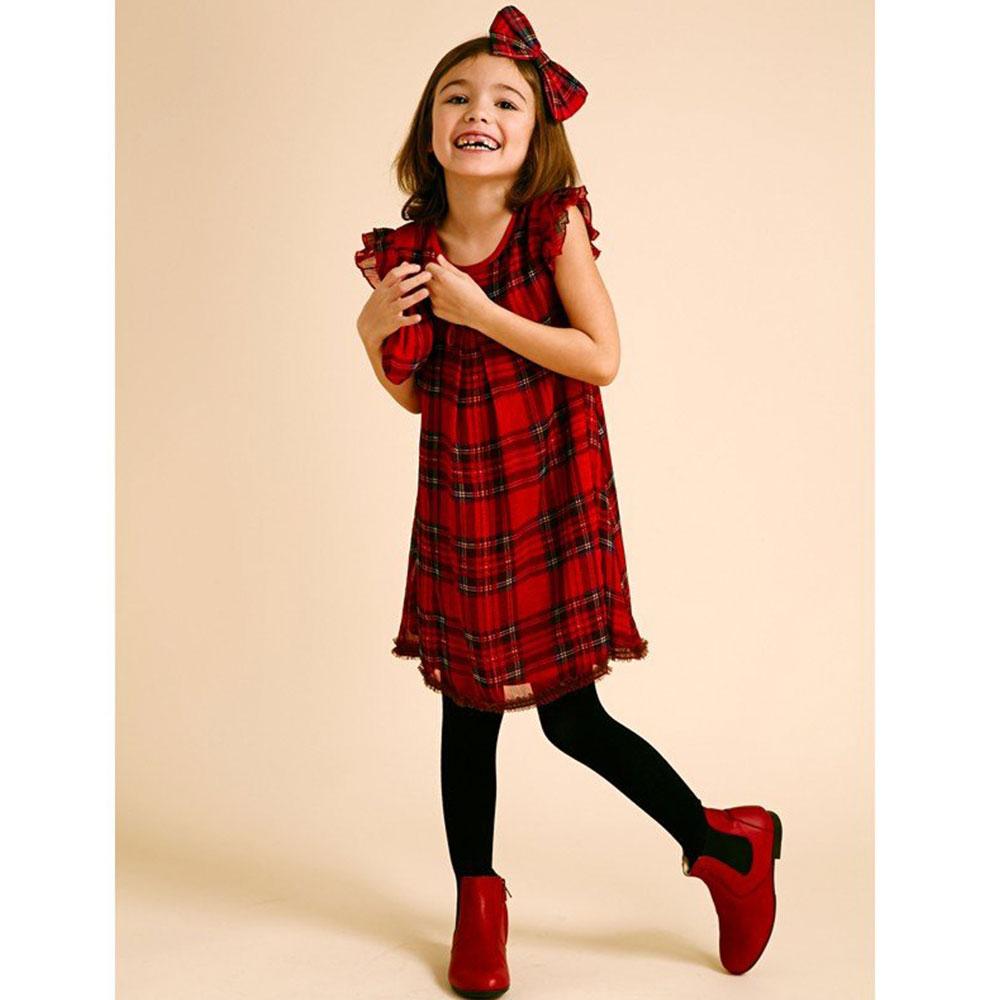 I Love Gorgeous 格紋荷葉袖滾邊洋裝-紅色