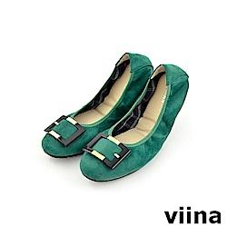 viina 經典款絨布方扣摺疊鞋MIT-綠色