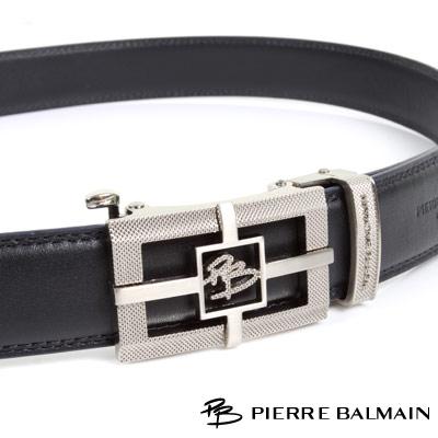 PB-皮爾帕門-經典方框簍空十字Logo亮銀款-頭層牛皮自動扣皮帶-855