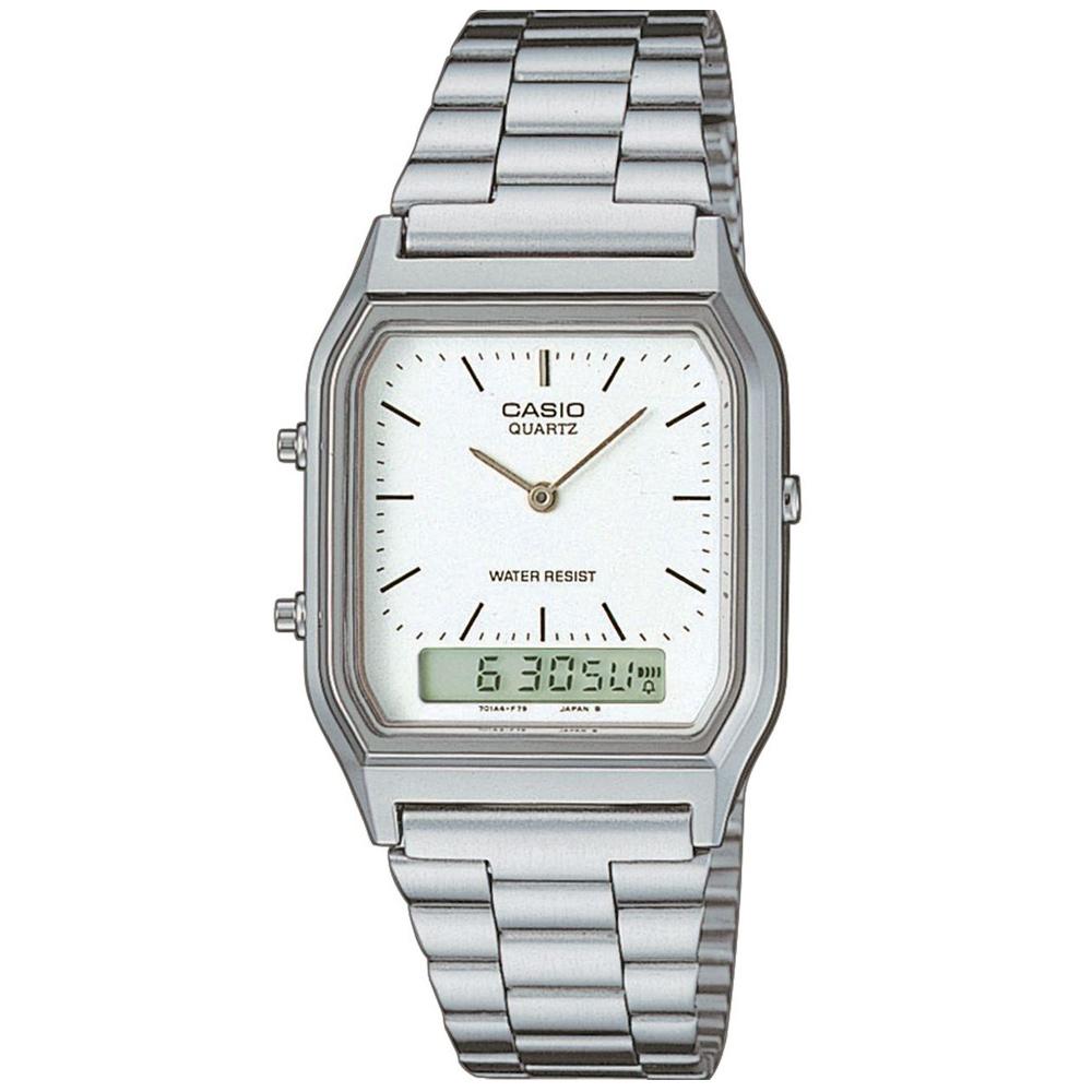 CASIO 銀色時尚復古雙顯指針錶-白/29.5mm