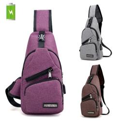 活力揚邑 USB充電孔牛津布斜背包防水戶外休閒單肩包 (紫、灰、褐)