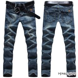 小猴子的賣場 韓版小皮標刷破單寧牛仔長褲