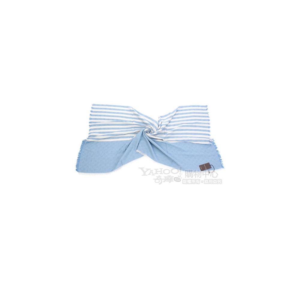 GUCCI 條紋飾邊雙G織紋圍巾(水藍色)