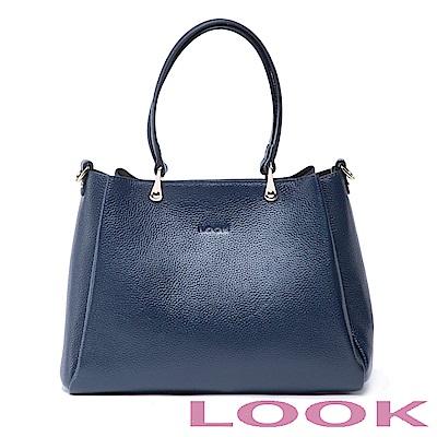 LOOK-真皮水滴手提包-俏麗女孩Queena系列-品味藍