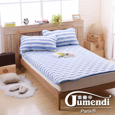 喬曼帝Jumendi 超涼感纖維針織雙人保潔墊-條紋藍