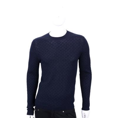 VERSACE 深藍色編織紋羊毛長袖上衣
