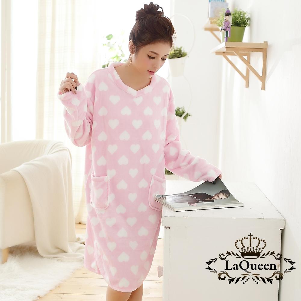睡衣   可愛甜心雙面水貂絨睡裙-粉色愛心 La Queen