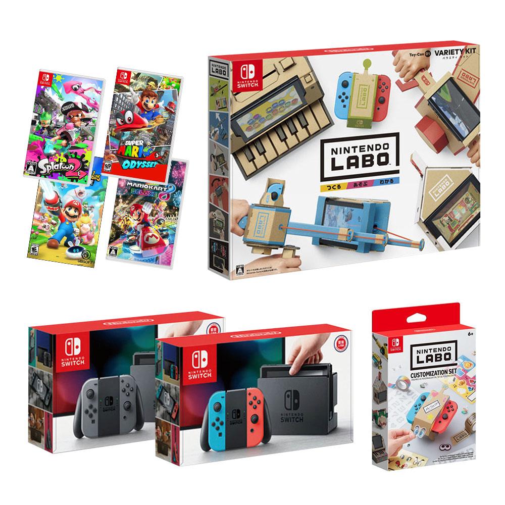 (無卡分期-12期) NS主機+遊戲4選1+Labo Toy-Con01+裝飾套組