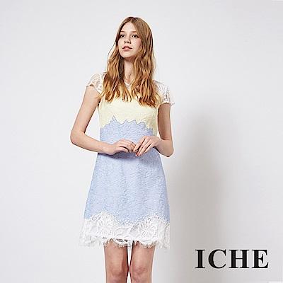 ICHE 衣哲 氣質3D蕾絲雕花拼接造型禮服洋裝