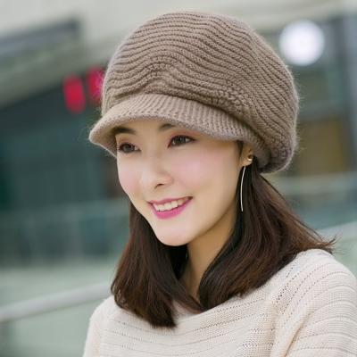 幸福揚邑  雙層保暖護耳小顏針織鴨舌貝蕾帽小臉兔毛線帽-卡其