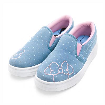 DISNEY 首爾米妮 水玉點點厚底懶人鞋-藍