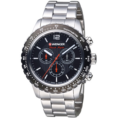 WENGER Roadster黑夜騎士計時腕錶(01.0853.107)黑/45mm