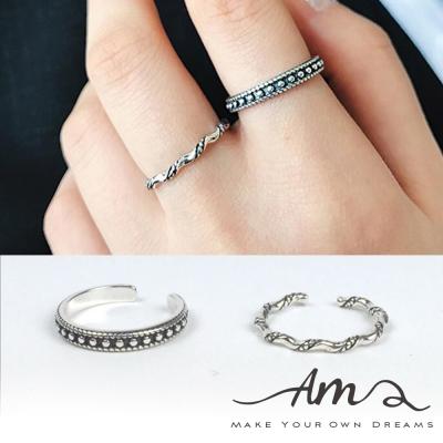 AM輕飾品 復古鍊條珍珠純銀戒指 開口戒 活圍戒