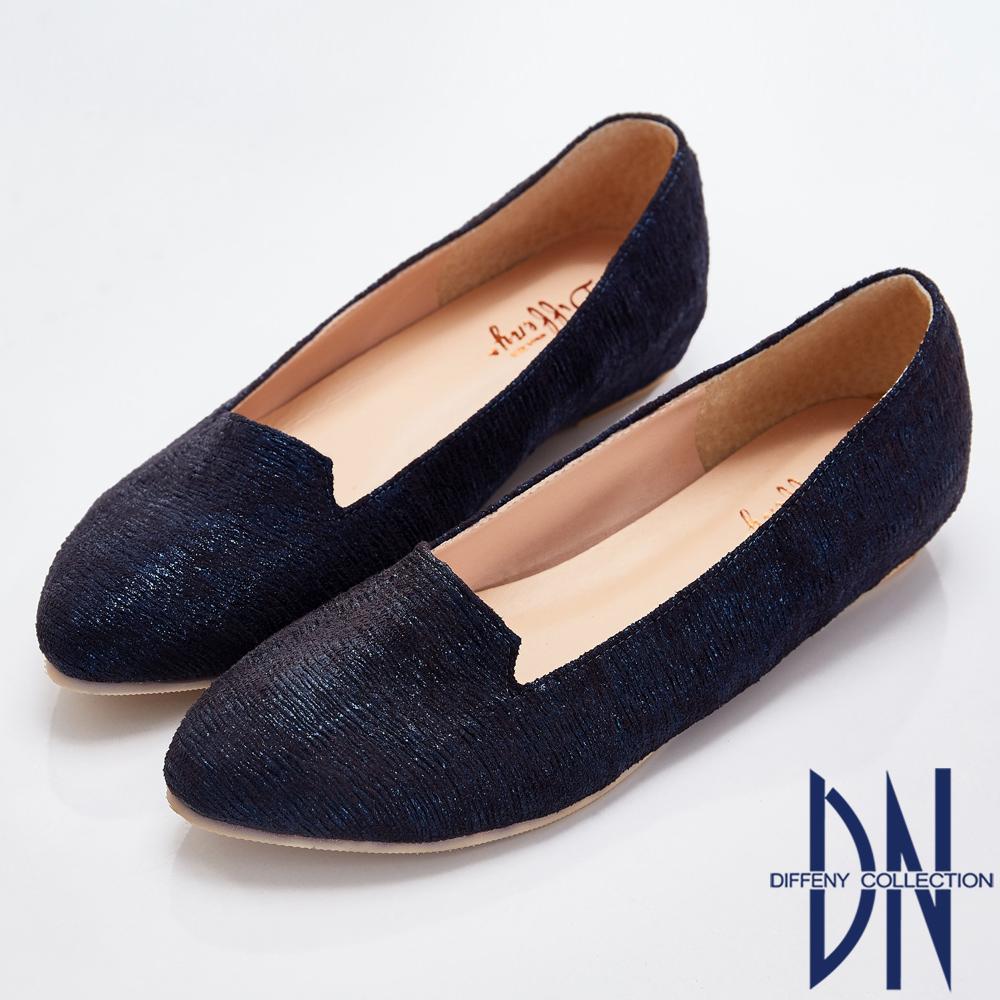 DN 名媛典藏 特殊材質內增高樂福鞋-藍