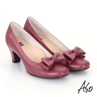 A.S.O 3E舒活寬楦 真皮立體雙層蝴蝶結飾高跟鞋 酒紅