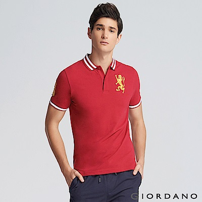 GIORDANO 男裝勝利獅王3D刺繡彈力萊卡POLO衫 -26 標誌紅