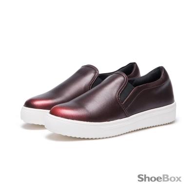 達芙妮DAPHNE-ShoeBox系列-懶人鞋-金屬仿舊刷色平底鞋-酒紅8H
