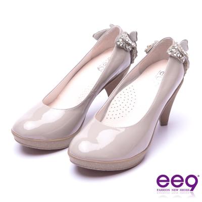 【ee9】典雅簡約素面閃耀鑲嵌亮鑽蝴蝶結高跟鞋* 灰漆亮