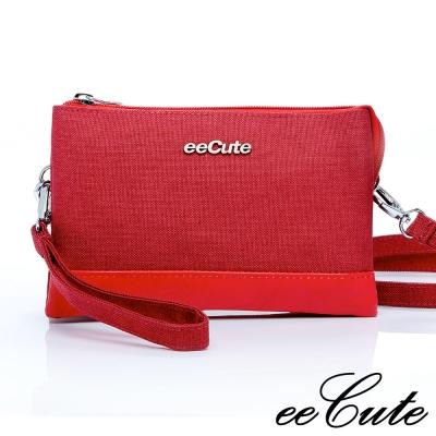 eeCute 簡約風多用途隨身包(收納、手拿、側斜背)(艷夏紅)EEEL009-RD