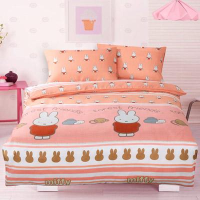 Miffy 忒萌活性印染超細纖加大床包枕套三件組-米飛好朋友